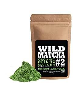 Organic Matcha Green Tea Powder, Wild Matcha #2 Ceremonial Grade, Authentic Japanese Matcha Grown In The Mountains of Kyoto, Japan, JAS Certified Organic (2 ounce)