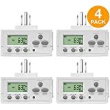 Topgreener Plug In Timer for Electrical Outlets (Programmable, Digital, 3-Prong, Indoor/Outdoor, Heavy Duty, LCD Display, UL Listed, Off White, 4 Pack) - 1800W 120V 15A