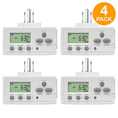 - TOPGREENER Plug In Timer for Electrical Outlets (Programmable, Digital, 3-Prong, Indoor/Outdoor, Heavy Duty, LCD Display, UL Listed, Off White, 4 Pack) - 1800W 120V 15A