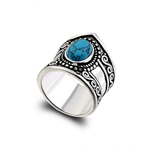 - Monowi Women 925 Silver Gift Turquoise Moonstone Wedding Ring Christmas Party Gift Hot | Model RNG - 20308 | 7