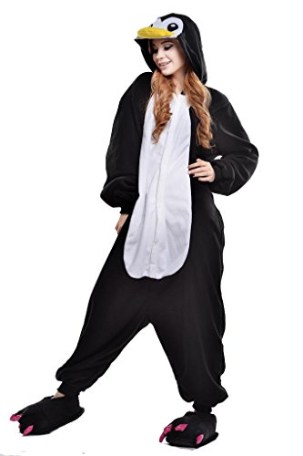 Unisex Costumes (Newcosplay Unisex Black Penguin Pyjamas Halloween Costume)