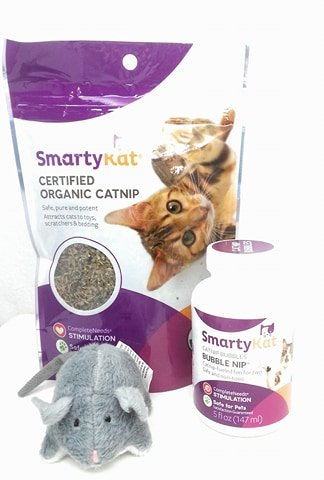 Smarty Kat Certified Organic Catnip  Bubble Nip And Plush Mouse With Bell