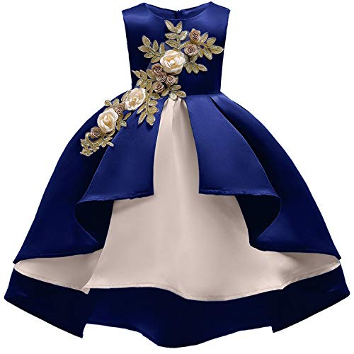 Baby Girl Embroidery Silk Princess Dress for Wedding Party Kids Dresses for Toddler Girl Children Fashion Christmas Clothing,Royal Blue,4Т]()