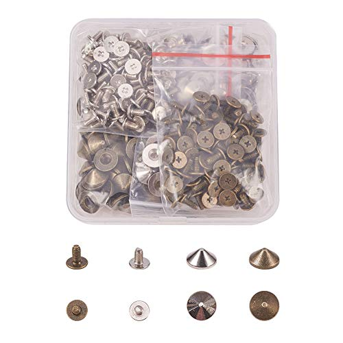 NBEADS 1 Box 200Pcs/Box Zinc Alloy Flat Wooden Box Pull Handle Knobs Spike Cone Studs Rivet Spikes Screw for Punk Gothic Style Clothes Shoes Bag Leather Decorations, Mixed Color
