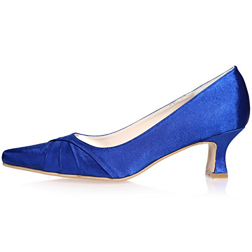 Clearbridal Women's Satin Low Heel Pointed Toe Wedge Heel Wedding Bridal Court Shoes For Evening Party Prom ZXF0723-08 Pink GFpeFb9Iaf