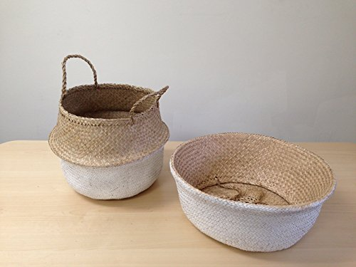 Dipped White Sea Grass Belly Basket Panier Boule Storage Nursery Toy Laundry Easter 1 PC LARGE