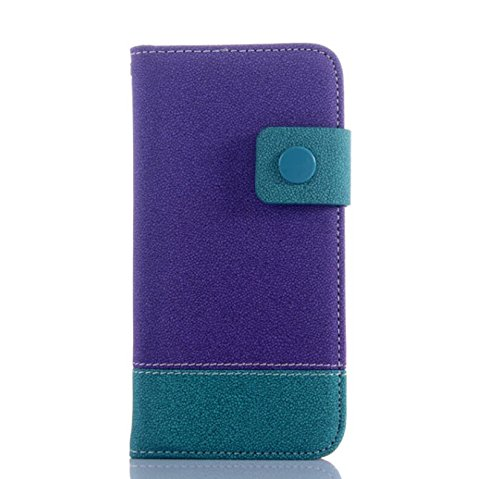 Business style Contrast Color Apple iPhone 6plus 5.5 Inches Hand Strap Wristlet Carrying Case Filio Flip Cover Magnent Closure Snowflake Print Pouch with Multiple ID Card Holders & Bulid in Stand (Purple)
