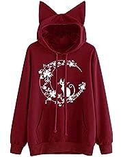 JPVDPA Oversized Hoodie for Women Long Sleeve Splice Dinosaur Sweatshirt Loose Casual Print Hoodies for Girls Wine