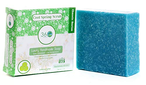- Handmade Soap Cool Spring Scrub, X-LARGE 5oz Handmade Soap bar- Fresh bergamot citrus with woody floral notes - Normal to dry skin, Natural Soap - Organic Castile lye Soap, Made in USA- 360Feel
