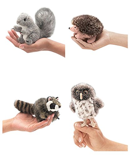 Hedgehog Finger Puppet (Folkmanis Finger Puppets Mini Woodland Creatures Bundle Gray Squirrel, Hedgehog, Raccoon and Spotted Owl)