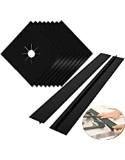 """Stove Burner Covers,MSDADA Gas Range Protectors, 0.2 mm Double Thickness,Reusable, Non-Stick, Easy to Clean 10.6"""" x 10.6"""" 8Pcs+2Pcs Silicone Stove Gap"""