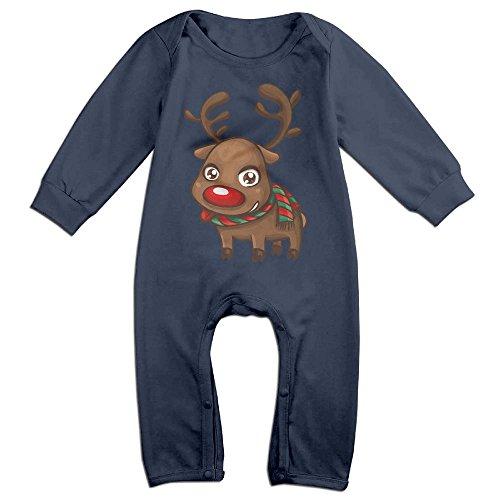 GHSCASGB Elk Merry House Wallpaper Baby Long Sleeve Bodysuit 100% Cotton Xmas Scenes Wallpaper