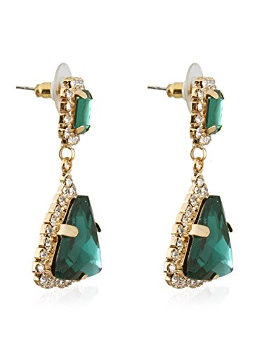 Fasherati green crystal gems fashion star gold drop earrings for girls/women