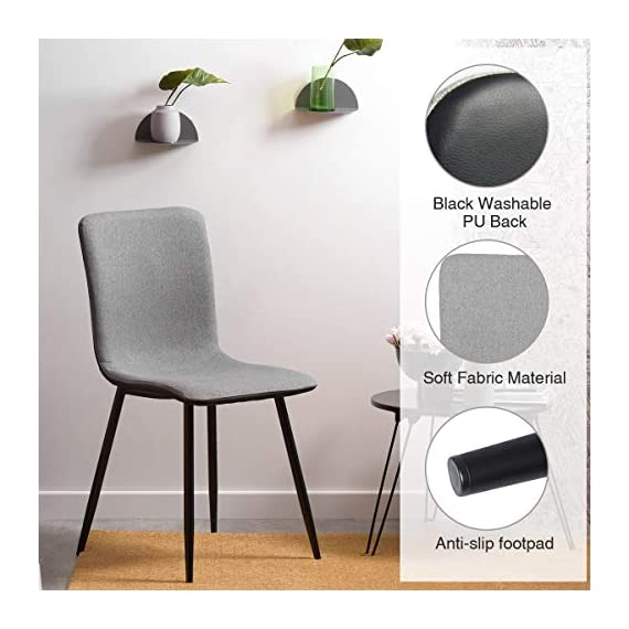 Coavas Dining Chairs Set of 4, Kitchen Chairs with with Fabric Cushion Seat Back, Black Washable PU Back and Metal Legs, Modern Mid Century Living Room Side Chairs - Best Christmas Gifts for Family and Friends. Epic Deals for Black Friday and Cyber Monday! WASHABLE PU FAUX LEATHER🍅🍅🍅---The back of the ergonomic seat shells is made of washable PU faux leather, dyed in stunning and elegant matte black. PU is waterproof and washable. Set of 4 dining room chairs -COMFORTABLE & BREATHABLE - Wear proof thicken padding upholstered chair seat and back, Each bottom leg is equipped with an anti-scratches and anti-noise rubber pad to protect your floor. Set of 4 dining room chairs - STURDINESS & DURABILITY - 4 metal tube with wooden transfer legs, or paint it in a color you prefer. Sturdy X-shaped support to the seat, strong bearing strength, Maximum weight capacity: 250 lbs. - kitchen-dining-room-furniture, kitchen-dining-room, kitchen-dining-room-chairs - 41xBOCkAjCL. SS570  -