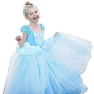 TiiMi Party Princess Cinderella Costumes Princess Dress up Kids Party Cosplay Costume Queen Dresses for Little Girls 2-12T (Age 4-5 Years 110cm)
