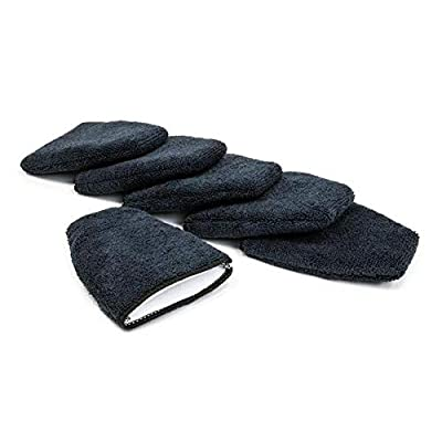 [Finger Applicator] Microfiber Fingertip Mitt Applicator (5 in. x 4 in.) 6 Pack (Black): Automotive