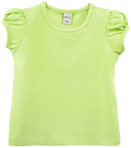 Lovetti Baby Girls' Basic Short Puff Sleeve Round Neck T-Shirt 18-24M Apple Green