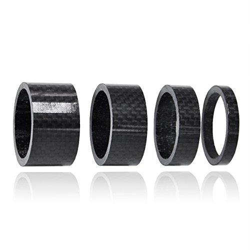 Labewin Carbon Fiber Bicycle Headset Spacer 1 1/8″ Set Stem Set 5-10-15-20mm 4PCS