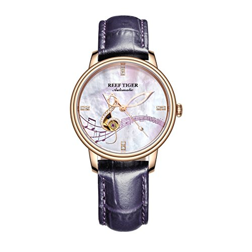 Reef Tiger Luxury Brand Rose Gold Watches for Women White MOP Dial Analog Watches (Analog White Mop)