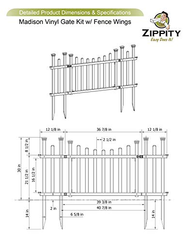 Zippity Outdoor Products ZP19028 Unassembled Madison Vinyl Gate Kit with Fence Wings, White by Zippity Outdoor Products (Image #5)