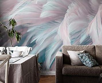 Moderne minimalistische 5d TV Hintergrund Tapeten nordischen Stil  Wohnzimmer Feder Wand Tuch Atmosphäre Schlafzimmer Tapete Wand 200 cm * 140  cm