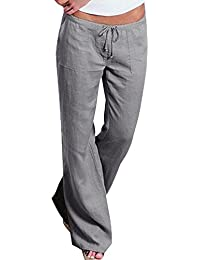 Women's Casual Cotton Linen Wide Leg Flared Pants with Drawstring Waist