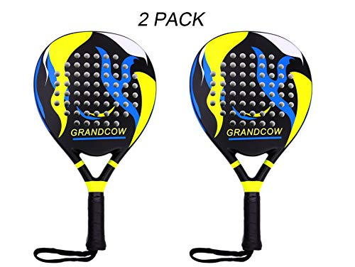 GRANDCOW Tennis Padel Paddle Pro Carbon Fiber Power Lite Pop EVA Foam Beach Paddle Tennis Paddleball Racket Racquets (2Pcs Black)