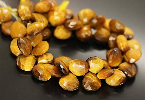 GemAbyss Beads Gemstone Bi Color Yellow Tigers Eye Faceted Briolette Heart Drop Gemstone Loose Craft Beads Strand 9 Inch Long 15mm 13mm Code-MVG-20674