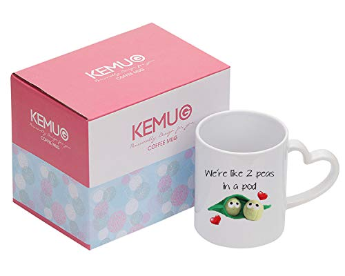 Kemug - We're Like 2 peas In A Pod Mug Love Mugs Gifts For Her Gifts For Him Valentines Birthday Gift Christmas Mug - 11oz Ceramic Coffee Novelty Mug/Tea Cup, High Gloss (Were Like Two Peas In A Pod)