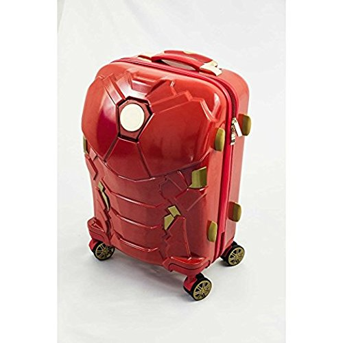 Iron Man Suit Pattern Spinner Lightweight Expandable Carry On Luggage Kids Suitcase, Modern Fun Marvel Superhero Themed, Hardside, Hardshell, Multi Compartment, Hard Travel Bags, Red, Gold, Size 24'' by S & E
