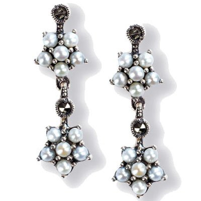 Gemini Cultured Seed Pearl Sterling Silver Earrings, Natural - Dahlia Vintage Collection ()