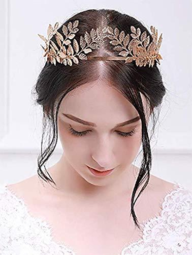 Deniferymakeup Vintage Baroque Wedding Olive Branch Crown and Tiara Bridal Princess Queen Crown for Bride and Bridesmaid (Rose Gold) ()