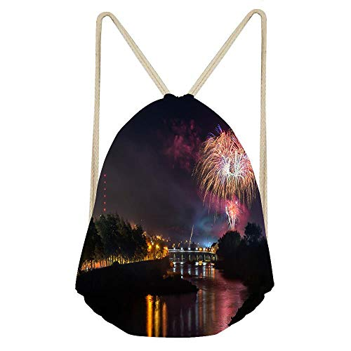 Stylish Drawstring Backpack Sport Gym Bag for Women Men, Children String BagCinch Sack Pack - Strabane Halloween Fireworks Display 2018