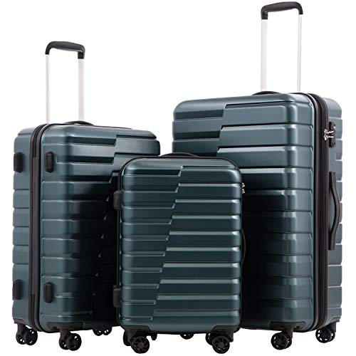 COOLIFE Luggage Expandable Suitcase PC+ABS 3 Piece Set with TSA Lock Spinner Carry on new fashion design (Teal blue, 3 piece set) (Teal Hard Suitcase)