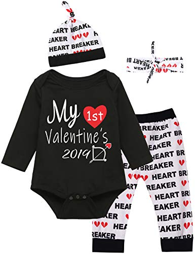 Baby Boys Girls Outfit Set My First Valentine's Day Bodysuit (Black, 3-6 Months)
