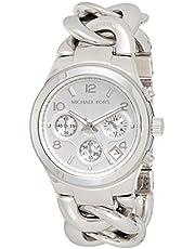 ساعة بسوار ستانلس ستيل ومينا ابيض للنساء من مايكل كورس Runway Twist - MK3149