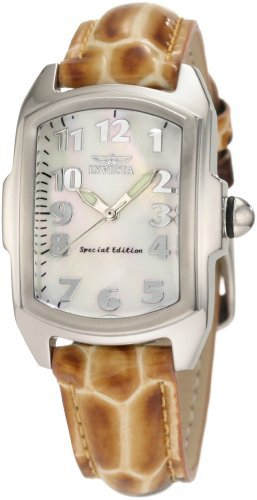 Invicta Women's 1895 Lupah White Mother-Of-Pearl Dial Brown Patent Leather With Alligator Pattern (Leather White Mop Dial)