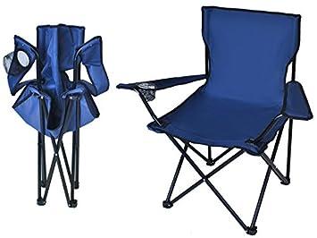 2er Set Faltstuhl Stuhl Klappstuhl Angelstuhl Campingstuhl Getränkehalter blau
