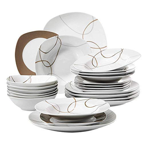 VEWEET 24-Piece Porcelain Dinnerware Set Brown Lines Patterns Plate Sets with Dinner Plate, Soup Plate, Dessert Plate, Bowl, Service for 6 (NIKITA Series)