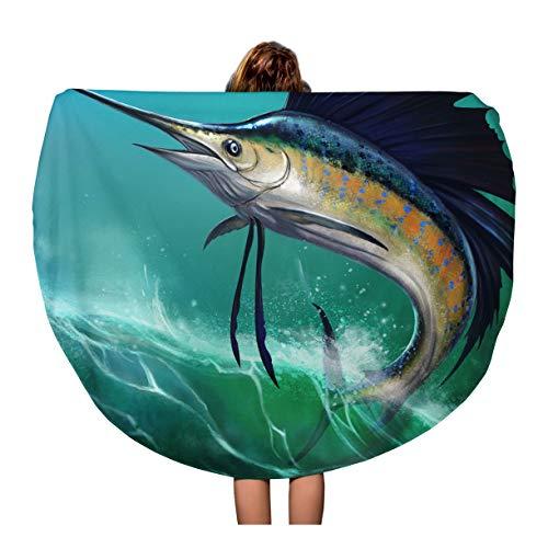 Semtomn 60 Inches Round Beach Towel Blanket Blue Marlin Sailfish of Waves in Jump Jumping Swordfish Travel Circle Circular Towels Mat Tapestry Beach Throw