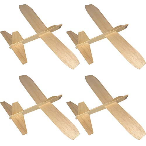 Guillow's Balsa Wood Jetfire Gliders | Wooden Model Airplane Construction Kits | 12-Inch Customizable Unfinished Blank DIY Assembly Flying Toy Planes | 4 Individual Packs from KYGON