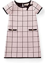 Girls' Plaid Knit Sweater Jacquard Dress Made with Organic Cotton
