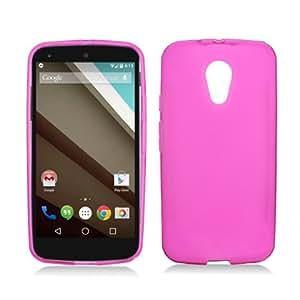 Motorola Moto G (2nd Gen. 2014) - Pink Flexible TPU Slim Fit Gel Skin Cover Case + ATOM LED Keychain Light
