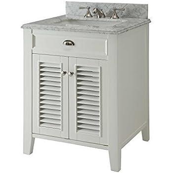 Superb This Item Kalani 26 Inch White Bathroom Vanity (Carrara Top): Includes Self  Closing Door Hinges And Rectangular Ceramic Sink YR3028Q26