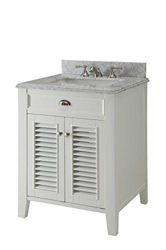 Kalani 26 Inch White Bathroom Vanity (Carrara Top): Includes Self Closing  Door