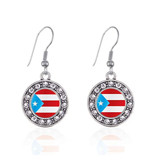 (Inspired Silver - Puerto Rico Flag Charm Earrings for Women - Silver Circle Charm French Hook Drop Earrings with Cubic Zirconia Jewelry)