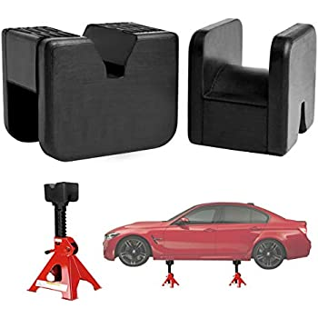 CAR ROVER Jack Pad Adapter for Jack Stand 2-3 Ton Universal Rubber Slotted Frame Rail Pinch Welds Protector Black, Pack of 2