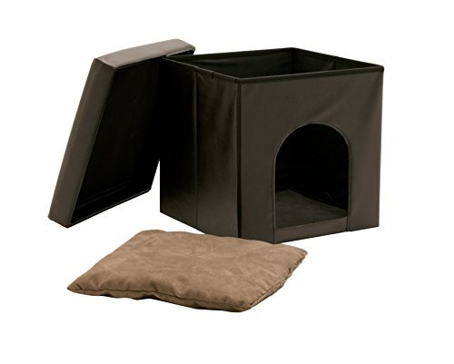 Studio Designs 61001 Paws & Purrs Collapsible Pet Bed and Ottoman, Brown