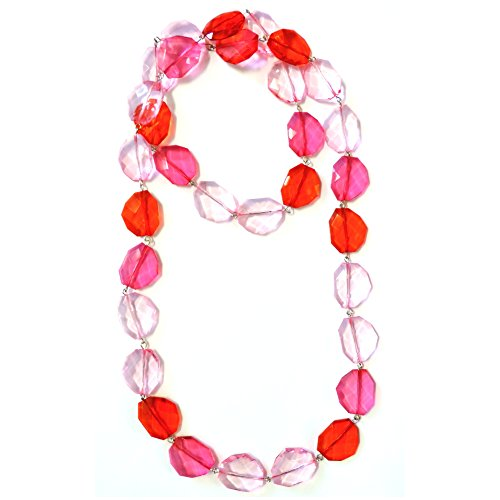 Joe Cool Necklace Pink Colour Facet Nugget Made With Resin by