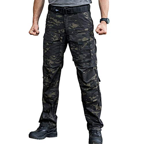 FREE SOLDIER Outdoor Men Teflon Scratch-Resistant Pants Four Seasons Hiking Climbing Tactical Trousers(Dark Camouflage 40W/32L) (Camouflage Trouser)